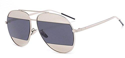 Ray Ron Split Aviator Large Metal Frame Mirrored Reflective Lenses Unisex - Sunglasses Split