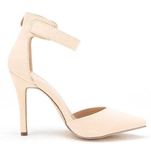 Toe PAIRS Women's Oppointed Stiletto nude DREAM D'Orsay Pointed ANKLE High Shoes OPPOINTED Pumps Ankle Strap Nubuck ankle Heel qdBwHAtXnt
