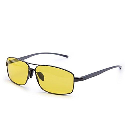 AMZTM Reducing Glare Night Driving Glasses For Men HD Polarized Double Bridge Metal Frame Rectangular Aviator Sunglasses (Grey Frame Yellow Lens, - Reducing Glare Sunglasses Best