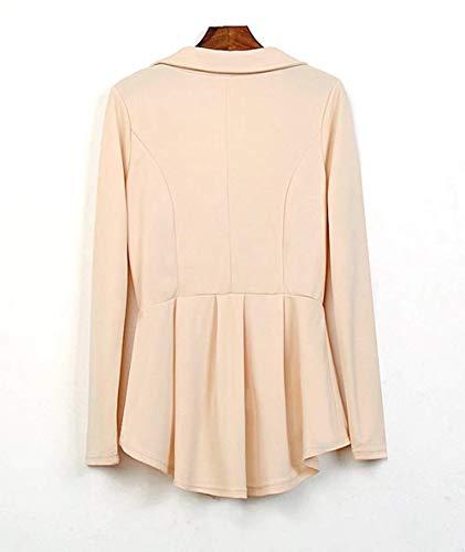 Lunga Giaccone Beige Coat Offlce Autunno Irregular Moda Bavero Button Donna Monocromo Manica Di Tailleur Camicia 1cvfT6fp