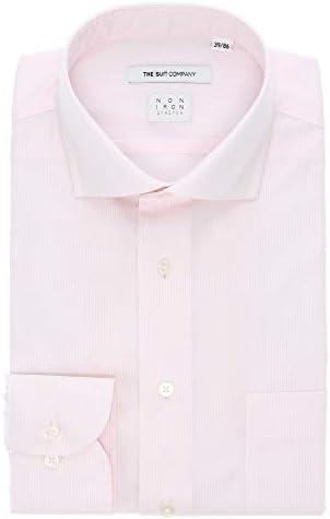 (ザ・スーツカンパニー) NON IRON STRETCH/ホリゾンタルカラードレスシャツ ストライプ 〔EC・FIT〕 ホワイト×ピンク