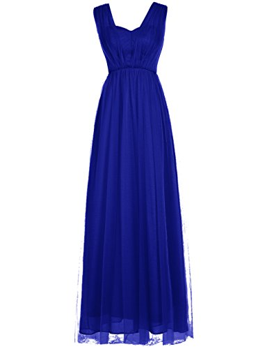 Dresstells®Vestido De Madrina Largo Con Tirantes De Tul Para Mujeres Azul Real