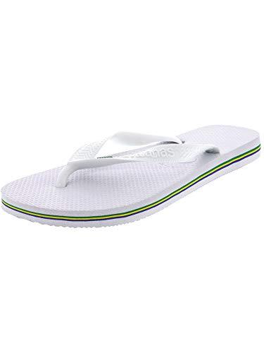Havaianas Women's Brazil Flip Flop Sandal, White, 9/10 M US