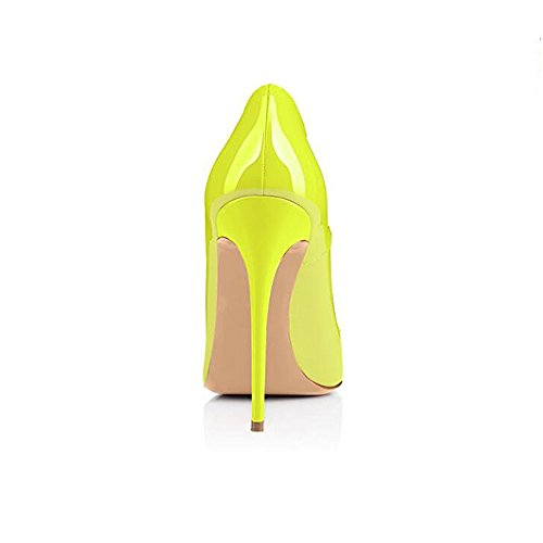 Genshuo Moda Donna Scarpe A Punta Tacco Alto Sexy Slip On Stiletto Scarpe Fluorescenti Giallo