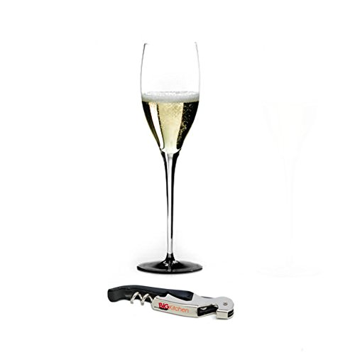 Riedel Sommeliers Black Tie Leaded Crystal Vintage Champagne Glass with Bonus BigKitchen Waiter's Corkscrew