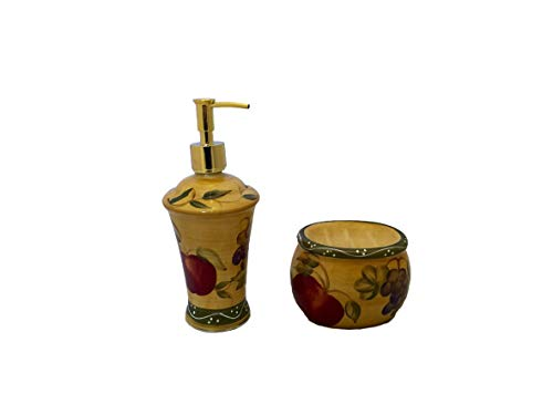 Tuscany Mixed Fruit Hand Painted Ceramic, Scouring Brillo Pad Holder with Soap Dispenser, 88488/89 By ACK