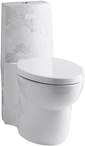 KOHLER K-14338-SMC-0 Empress Bouquet Design on Saile One-Piece Elongated Dual-Flush and Saile Quiet-Close Toilet Seat, White (Quiet Seat Closing Elongated)