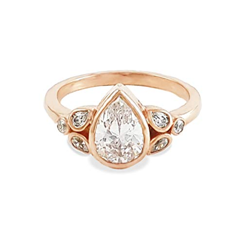 Adastra Jewelry 925 Sterling Silver 1.5 ct Pear Rose Gold Plated Bezel Set Solitaire Ring|Size 3 to 11 and half ()