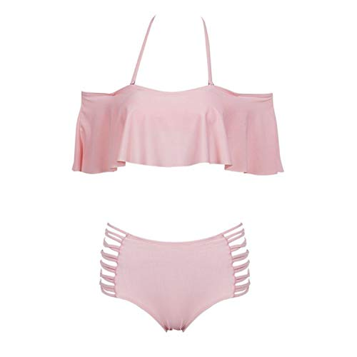 Shoulder Thong Bikini Set Swimsuit Swimwear Bathing Suit Beachwear Two Piece Set,Pink,M ()