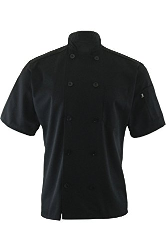 - Edwards Garment 10 Button Short Sleeve Chef Coat_BLACK_X-Large