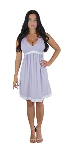 Satin Sundress - Charm Your Prince Women's Satin Silk White Ribbon Lavender Sundress L