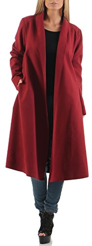 malito Femme Manteau Veste Design One 3050 Bordeaux Size Cardigan long Cascade gg6rwq40
