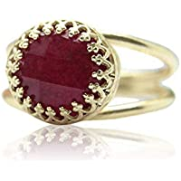 10CT Ruby Ring by Anemone Jewelry - Adorable Rose Gold Ring - AA Ruby 10 Millimeter Ring with All Sizes and Free Fancy Ring Gift Box - Handmade