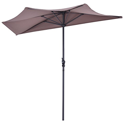 Brown Sunshade Shelter Patio Half Umbrella Outdoor 9ft Door - Guard Systems Tech Carts Security