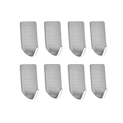 (Togu SUS 304 Stainless Steel Self Adhesive Hook Heavy Duty Wall Hooks Nail-Free Waterproof Stick On Bathroom Kitchen Door for Keys Hats Towel Coats, Brushed Finish,8pcs)