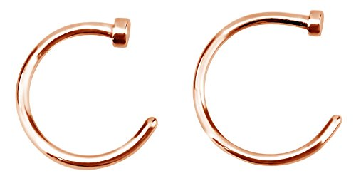 Forbidden Body Jewelry 18g 8mm & 10mm Rose Gold Tone Surgical Steel Perfect Basics Comfort Fit Nose Hoops