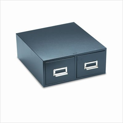 Buddy Products 2 Drawer Card File, Steel, 4 x 6 Inches, Black -