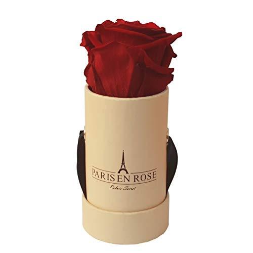 (PARIS EN ROSE Palais-Secret Rose Box, Real Roses (Preserved), Premium Cardboard Box, Satin Ribbon, Beige/Burgundy,)