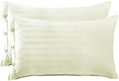 TLH - Juego de funda de edredón y funda de almohada de satén 100% algodón egipcio puro a rayas, algodón, crema, Housewife Pillowcases: Amazon.es: Hogar