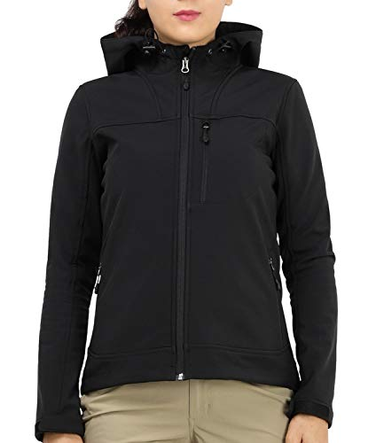 MIER Women's Hooded Softshell Jacket Tactical Jacket with Fleece Lined for Hiking Travel Work Casual, Water Resistant, Black, L