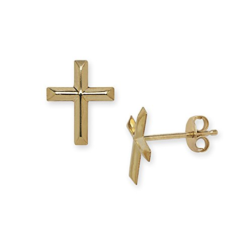 Jewelryweb Solid 14k Yellow Gold Beveled Cross Earrings for women and girls (10mm x 8mm)