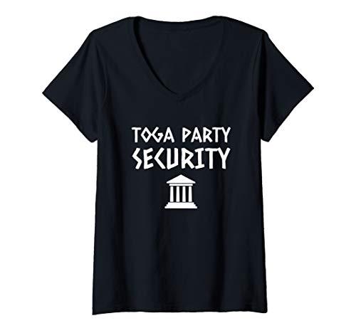 (Womens Toga Party Security Guard Greek Celebration College Frat Boy V-Neck T-Shirt)
