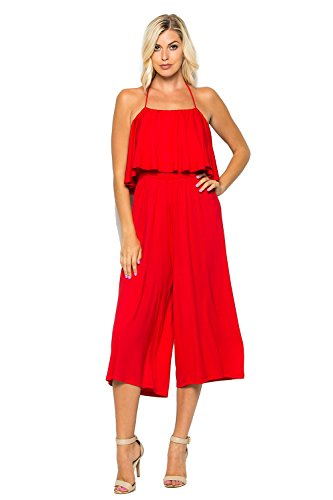 - Annabelle Women's Halter Tube Top Wide Leg Midi Jumpsuit Tomato Red Medium J8003