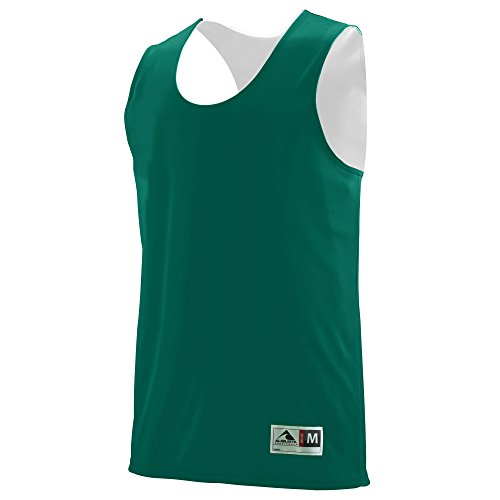 (Augusta Sportswear Teen-Boys Reversible Wicking Tank, Dark Green/White, Large)