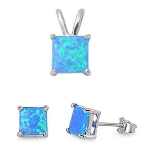 (Solitaire Square Princess Cut Earrings Blue Lab Opal Sterling Silver Pendant Set)