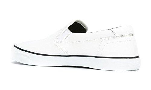 ZXD SlipOnVIII - Zapatilla Skater Mocasin Plimsole Sin Logotipo Loneta Verano Transpirable Suela Unisex Blanco
