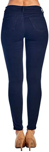 310N7InHseL. AC Love Moda Women's Butt Lift Mid Rise Denim Skinny Jeans with Comfort Stretch    This women's jean accentuates the back curves with its Amazing technical darts that are strategically place at the back yoke seam.Also, this jean is right on trend with its mid-rise zipper fly detail that has 3 riveted buttons which adds even more chic styling to this fantasy jean.You know you can step it up a knotch looking GREAT, this is definetly a must have of the season, don't be caught with out this one in your closet!!! ❤️ ❤️❤️56% Cotton,23% Polyester, 19% Rayon,2% SpandexMachine-wash cold inside-out on gentle cycle with like colors, line dry. Imported