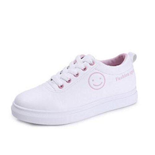 Versión Coreana De La Moda Cientos De Pequeños Zapatos Blancos,Zapatos De Las Mujeres,Cara Sonriente Zapatos De Ocio Estudiantil A