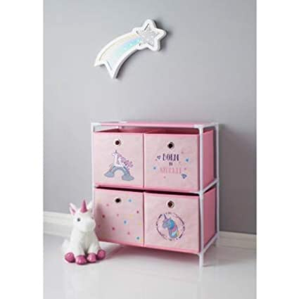 New Unicorn 4 Drawer Chest Drawer Girls Kids Children Bedroom Storage Unit  Pink