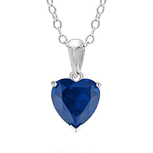 1.00 CT Heart 6MM Blue Sapphire and White Topaz Sterling Silver - Set Pendant Heart Sapphire