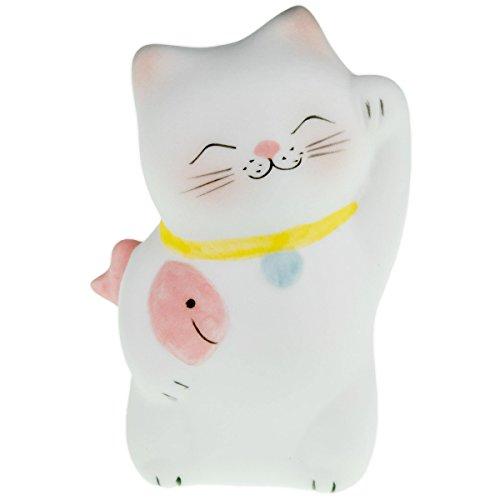 Lucky Cat Neko Fortune Handmade Painted Ceramic Japanese Chinese by Tada-Tada (1 Pcs, Pink Color)