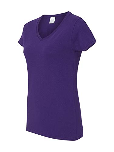 (Gildan Heavy CottonTM Ladies' 5.3 oz. V-Neck T-Shirt, Small, PURPLE )