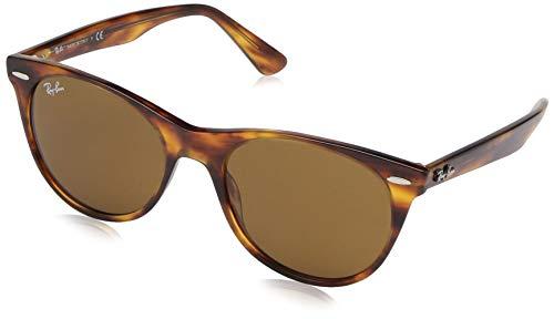 Ray-Ban RB2185 Wayfarer II Sunglasses, Striped Havana/Brown, 52 ()