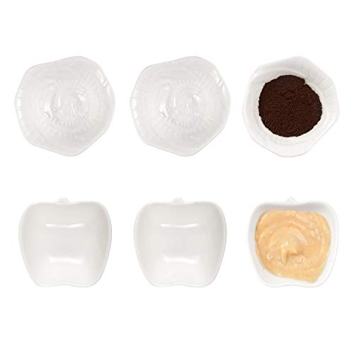 AHUA 6-Pack Porcelain Dessert Bowl Set/Dipping Bowls/Ramekins,Condiment Dish Soy Sauce Dishes- Dipping Cups Condiment Bowls Dipping Dishes,White Apple & Flower Shaped Dip Bowls Sets (Flower & Apple)