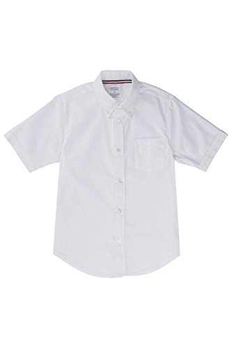 French Toast Big Boys' Short Sleeve Oxford Dress Shirt, White, 10 -