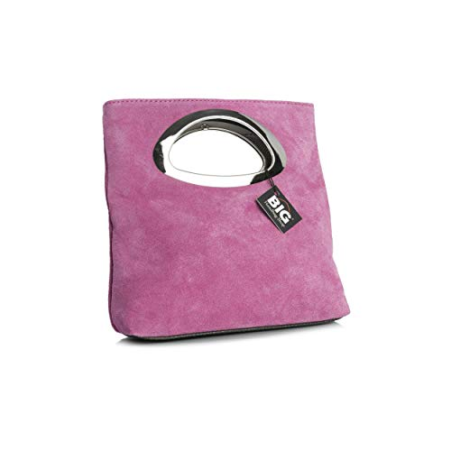 Plain with Handle Top Suede Pink Evening Foldable Dust Bag Small Purse Clutch Leather Italian Storage Bag IwxrPHqIp