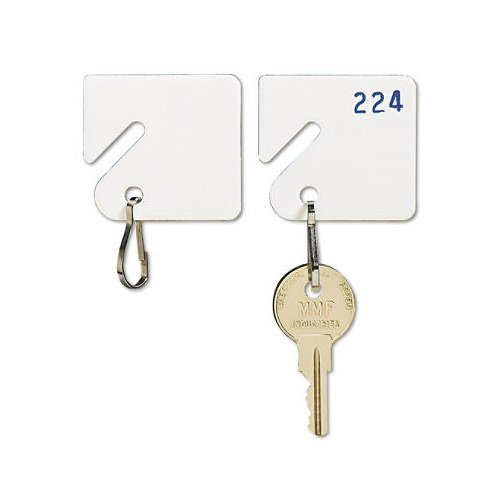 MMF Industries Slotted Rack Key Tags, Plastic, 1.5 Inch Height, White, 20 per Pack (201300006), 2 Packs