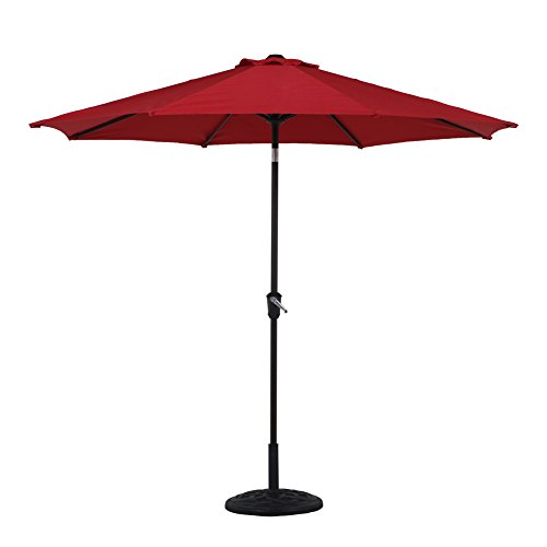 GP Patio Market Umbrella with Push Button Tilt and Crank,Round Umbrella, 10 Ft(Red) from