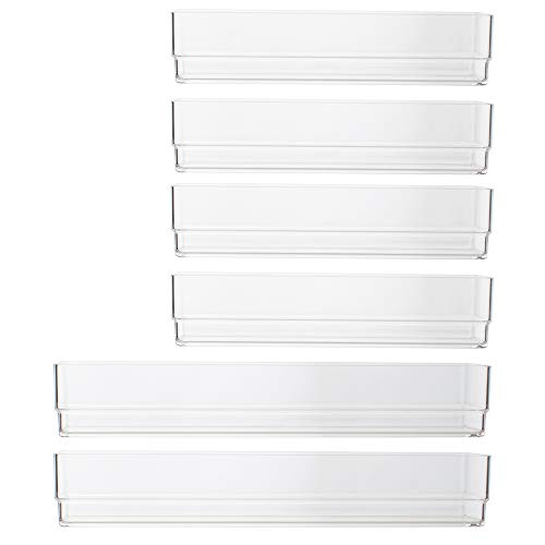 STORi Clear Plastic Vanity Desk and Kitchen Drawer Organizers | 6 Piece Set