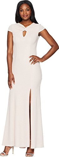 Adrianna Papell Women's Long Metallic Knit Dress with Twist, Blush, 14