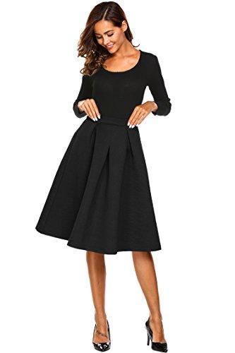 Women High Elastic Waist Flare A-line Full Midi Office Skirt with Belt S-XL