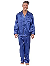 Reflex Apparel Men's Satin Button Down 2 Piece Pajama Set with Contrast Piping