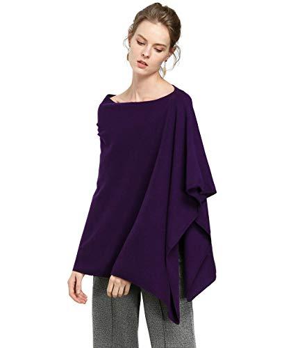 Goat Cashmere Shawls Pashmina Outfit Luxury Oversized Fashion Ponchos Capes Soft Fluffy Cozy (Purple, Free Size)
