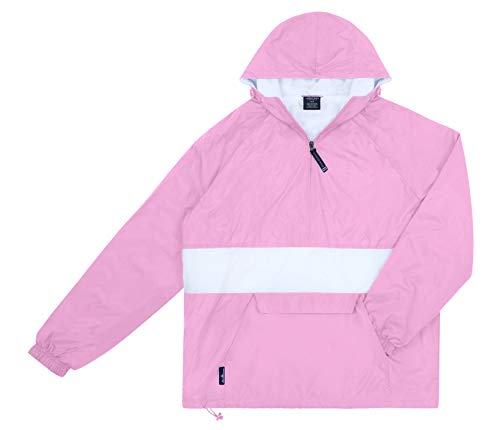 Charles River Apparel Womens Front Pocket Striped Pullover - Pink/White, Medium