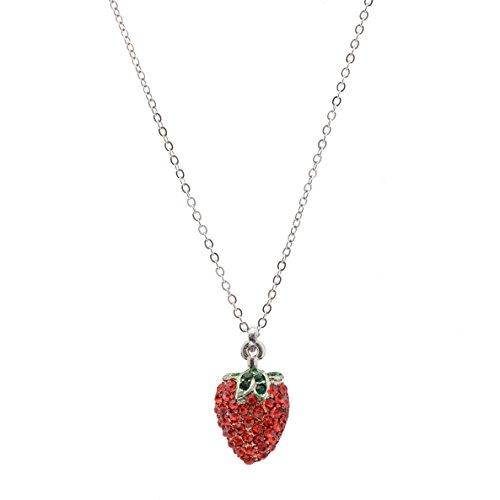 Spinningdaisy Crystal Silver Strawberry Necklace