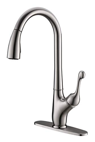 - Moone Single Handle Kitchen faucet Pull Down Sprayer Brass Body Pull Out Spray Head Kitchen Sink Faucet Stainless Steel High Arc Brushed Nickel Faucet